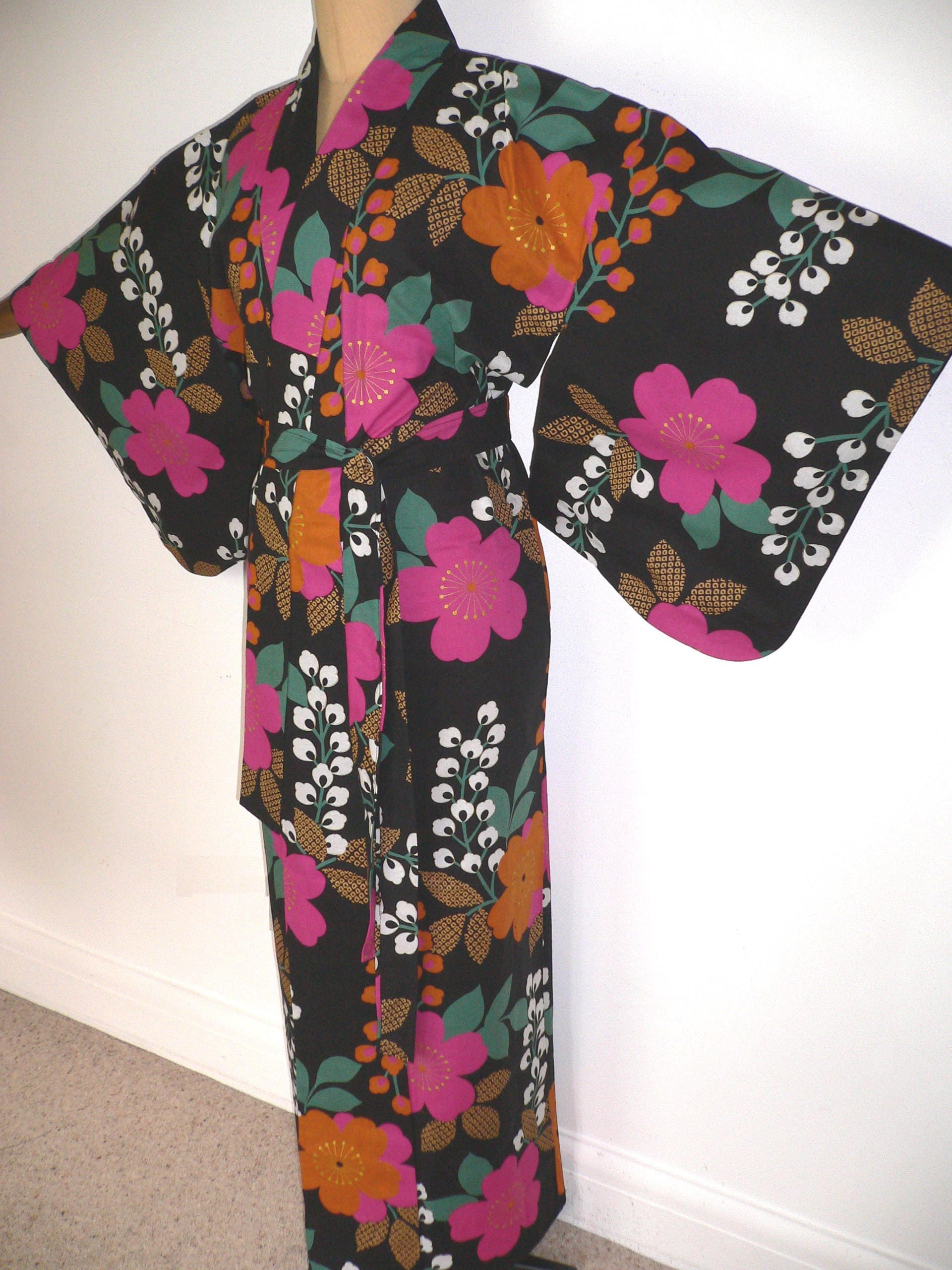 Vintage Japanese Authentic Yukata Cotton Kimono Robe Dressing Gown Shortened to Create a Matching Belt Black with Colourful Retro Flowers