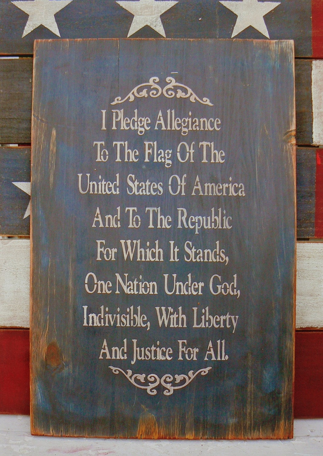 I Pledge Allegiance Colonial Primitive Sign American Flag
