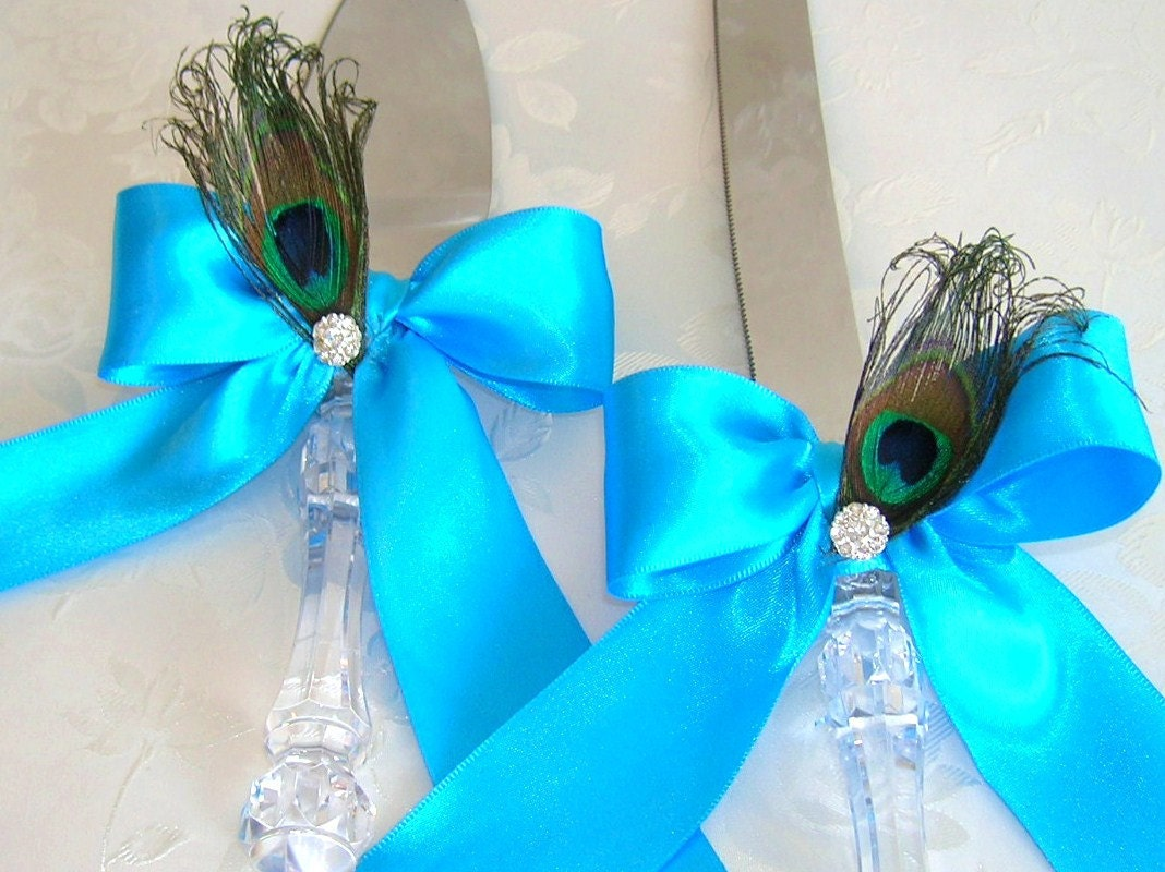 Peacock Theme Wedding Cake Serving Set Tiffany Blue by