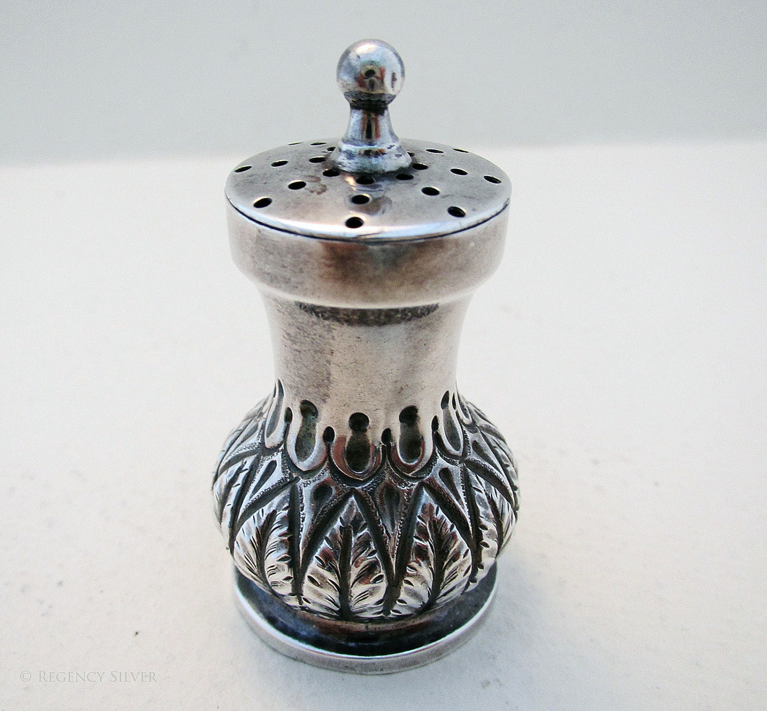 Victorian pounce pot 19thcentury (1889) antique solid sterling silver used for inkwell tray by Henry Charles Freeman