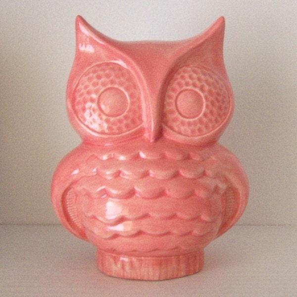 Ceramic Owl Planter Vintage Design Rose Pink By Fruitflypie