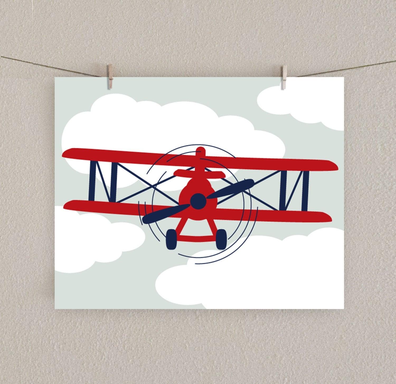 Boy S Room Airplane And Constellation Wall Map: Baby Boy Nursery Print Airplane Art Red & By SlightlySprightly