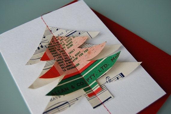 Рождественский подарок, Рождественская открытка - ручной работы из старинных ноты