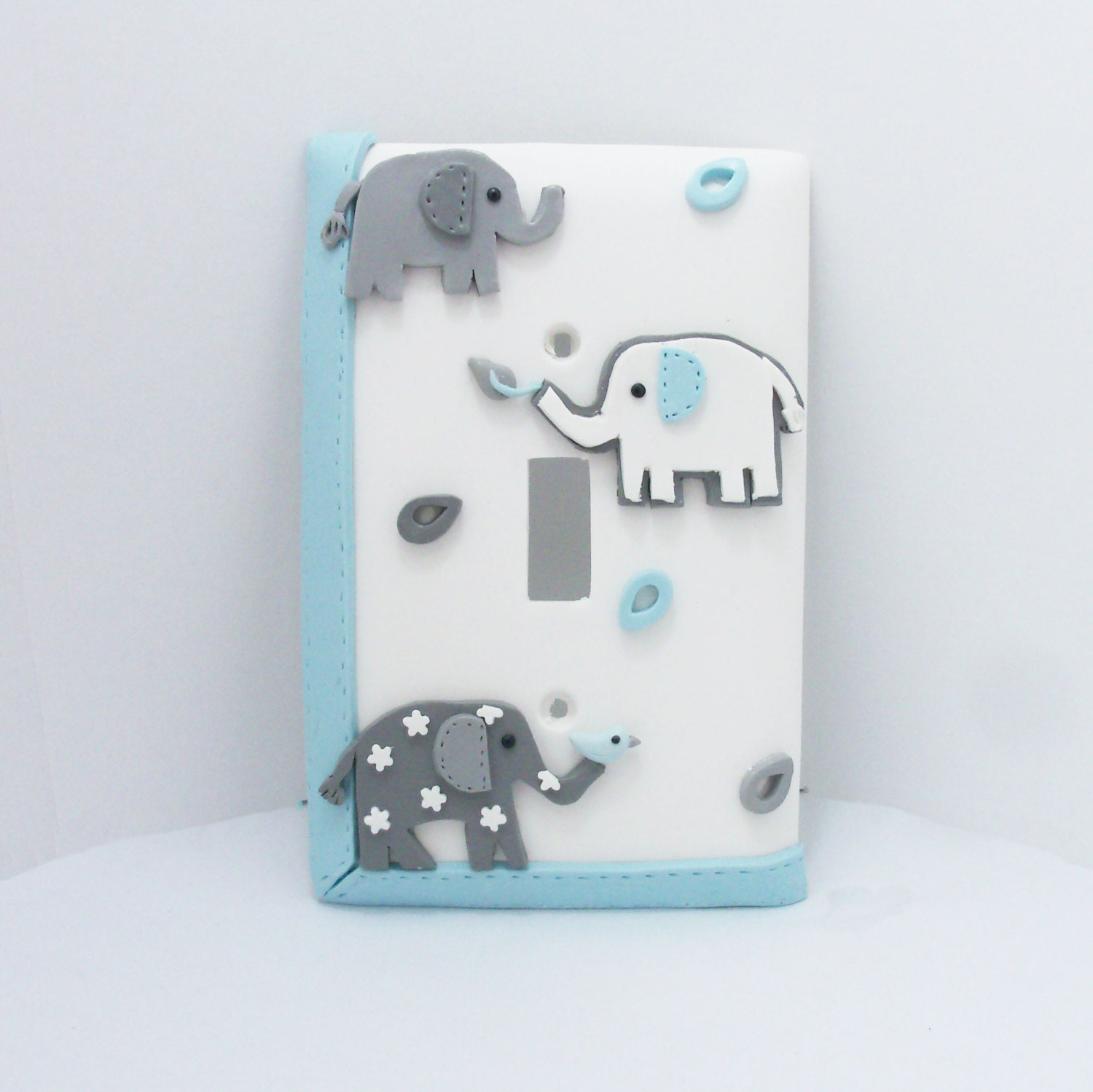 Elephant Light Switch Cover Gray Turquoise And By Thimbletowne
