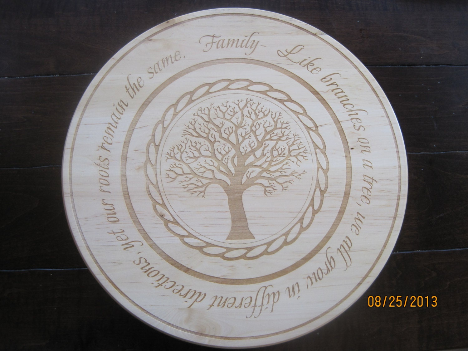 Wood Engraved Family Lazy Susan - TrueAmbition99