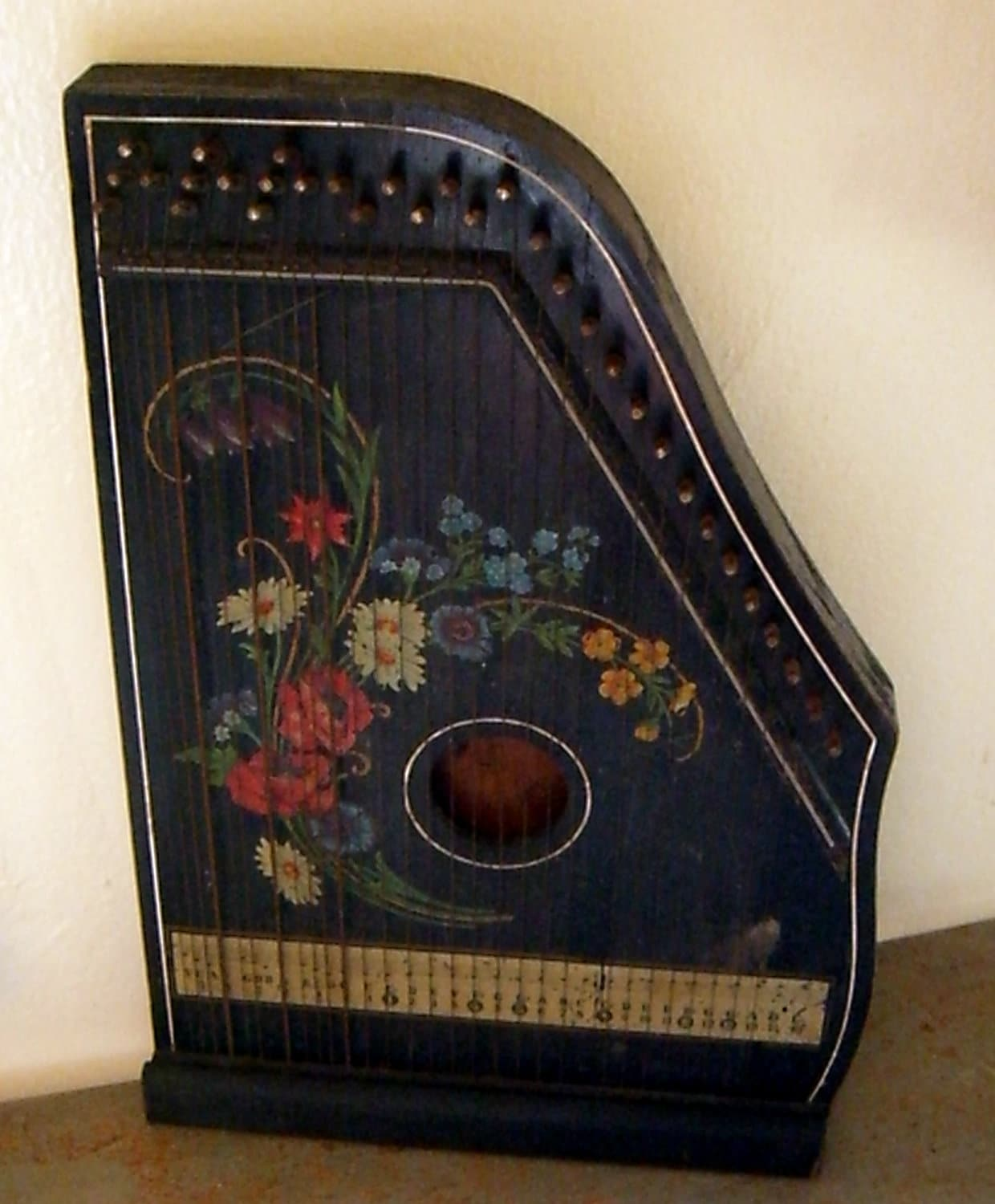 Antique Zither Harp Fretless Musima Zither Germany By