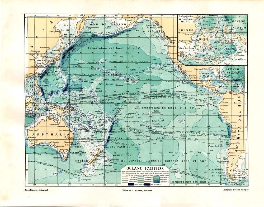 pacific ocean depth map  Pacific Ocean Vintage Map Sea
