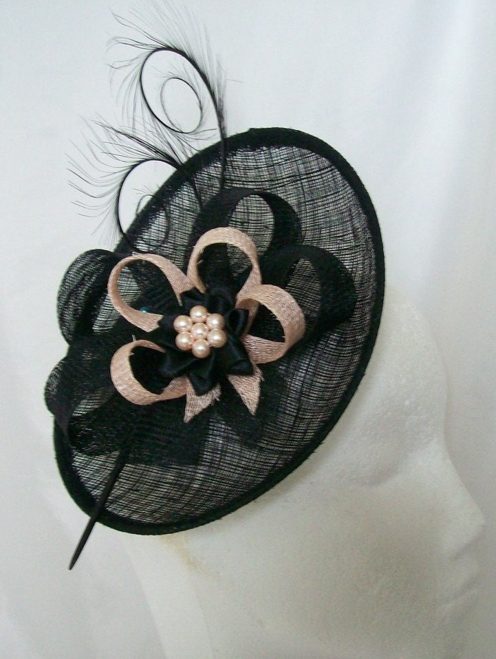 Black and Pale Peach Upback Saucer Sinamay Loop Curl Feather  Pearl Fascinator Hat Made to Order  Royal Ascot Derby