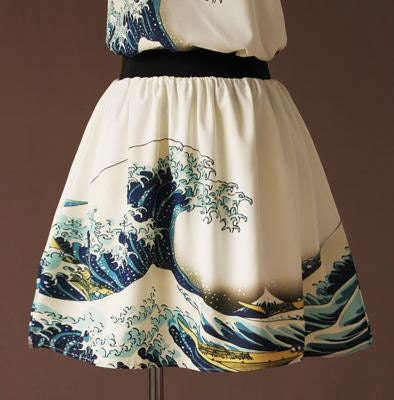 Vintage  Japanese painting Hokusai's The Great Wave off Kanagawa Skirt