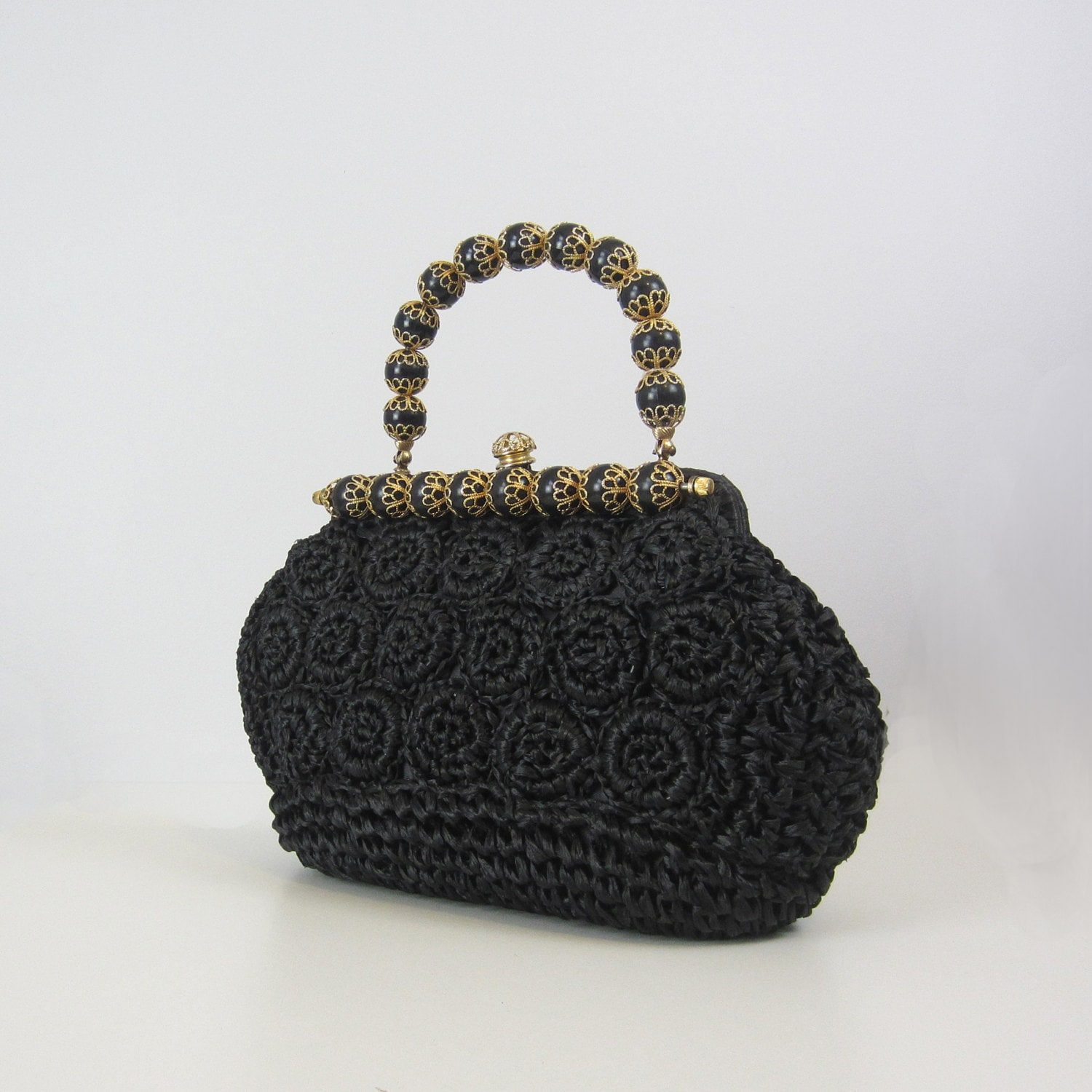 vintage woven straw handbag / 1960s straw bag / black / gold / woven purse / beaded - archetypevintage