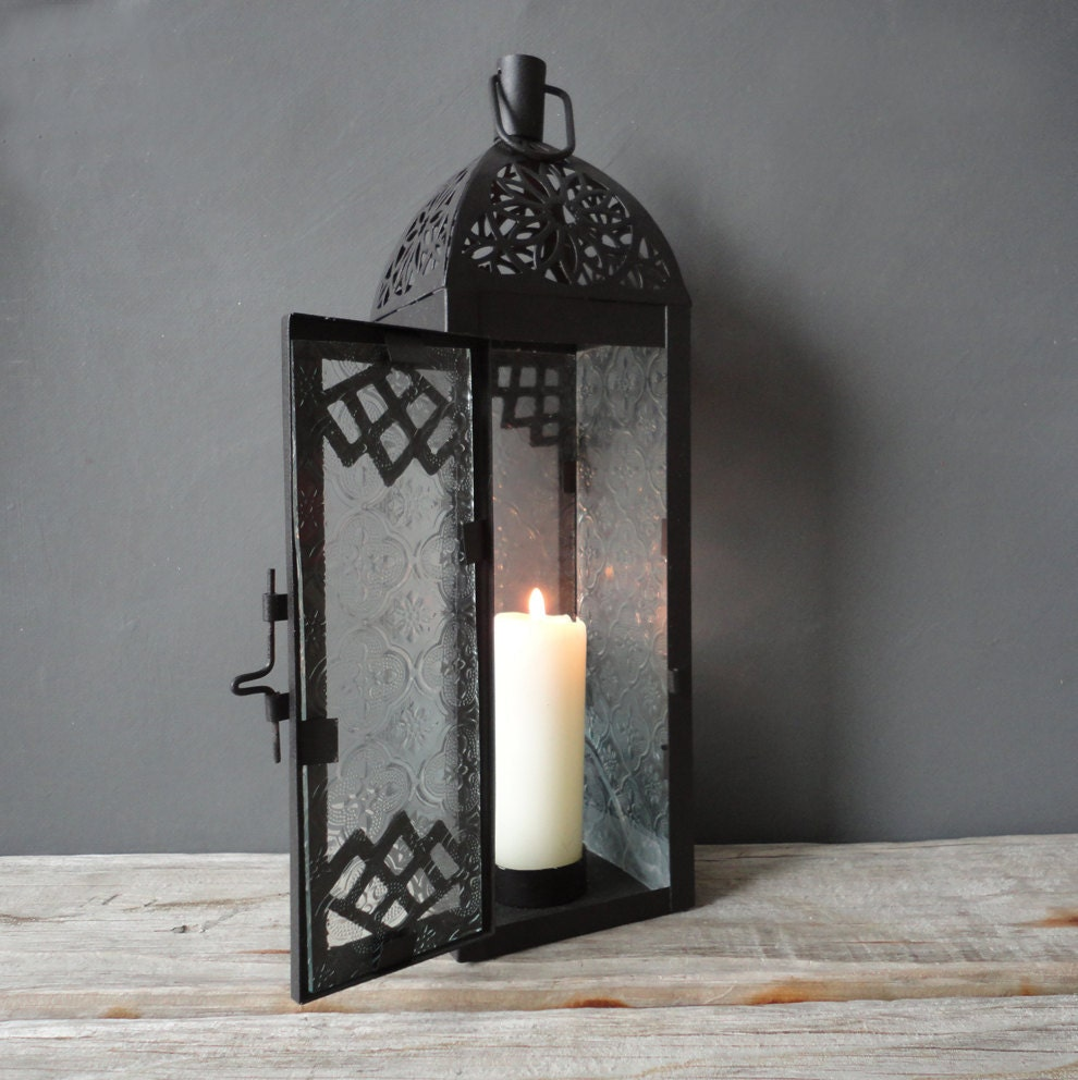 Tall metal candle lantern by oceanswept on etsy for Wire candle lantern