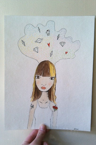 SALE 35% OFF Julia's got a head full of ideas- original 9 x 11 watercolor