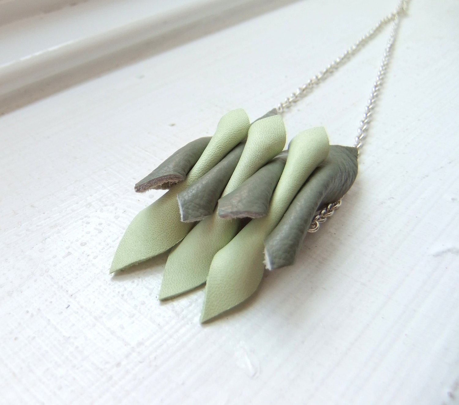 Green Leather Daggers Necklace - geozium