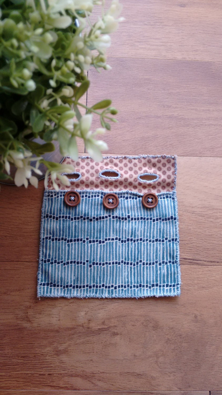 Hand stitched fabric bag  coin pouch  hand sewn  Coin purse  small bag