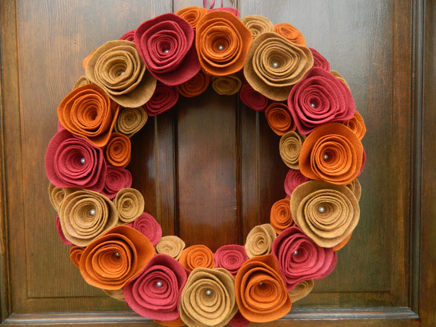 Fall Wreath - Autumn Wreath - Foliage Wreath in Copper Canyon, Copper Kettle and Ruby  18 inch - WreathinkGifting