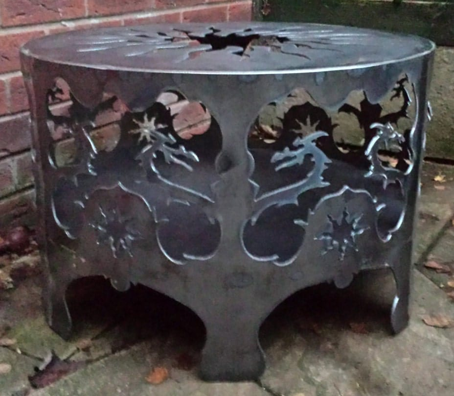 Bespoke Celtic Dragon and Sun Fire Pit  Chiminea  Patio Heater  Outdoor Heater  Fire  Festival  Garden Heater  Wood Burner  Glamping