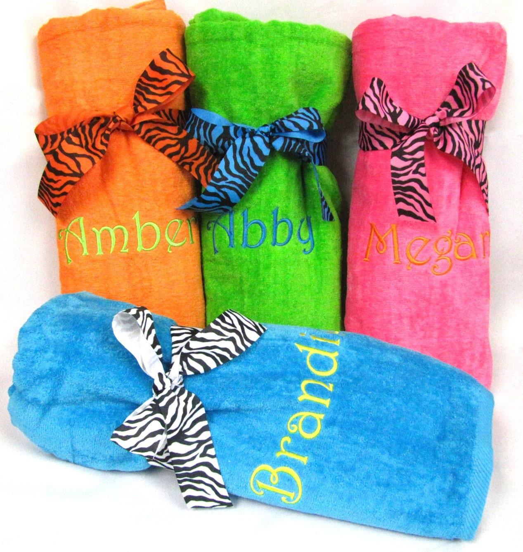 Zebra Ribbon Monogrammed Beach Towels By PremiereEmbroidery