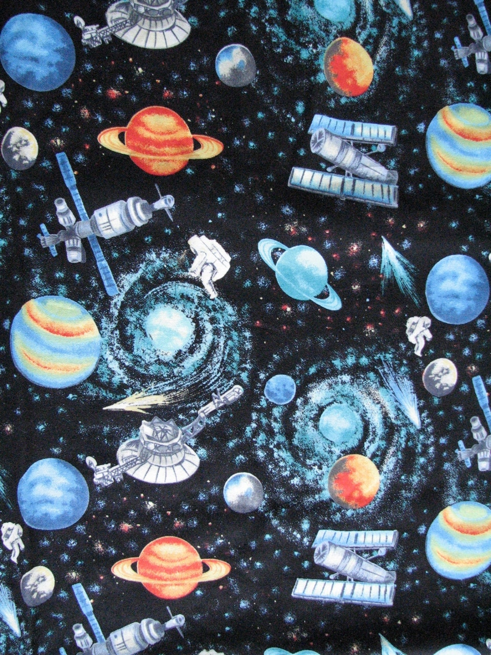 Popular items for outer space ships on etsy for Outer space quilt fabric