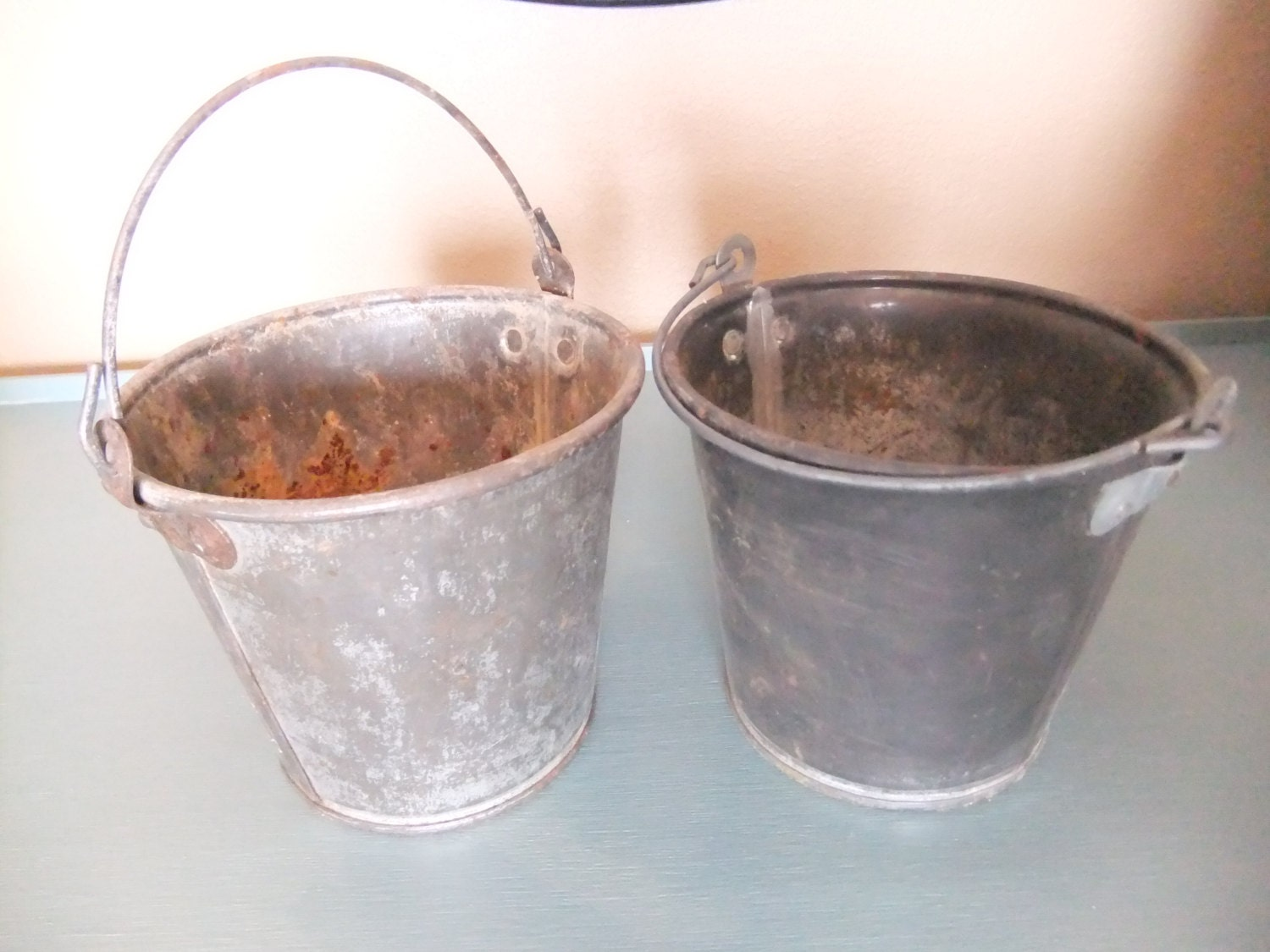Set of 2 heavy galvanized metal buckets small by for Galvanized metal buckets small