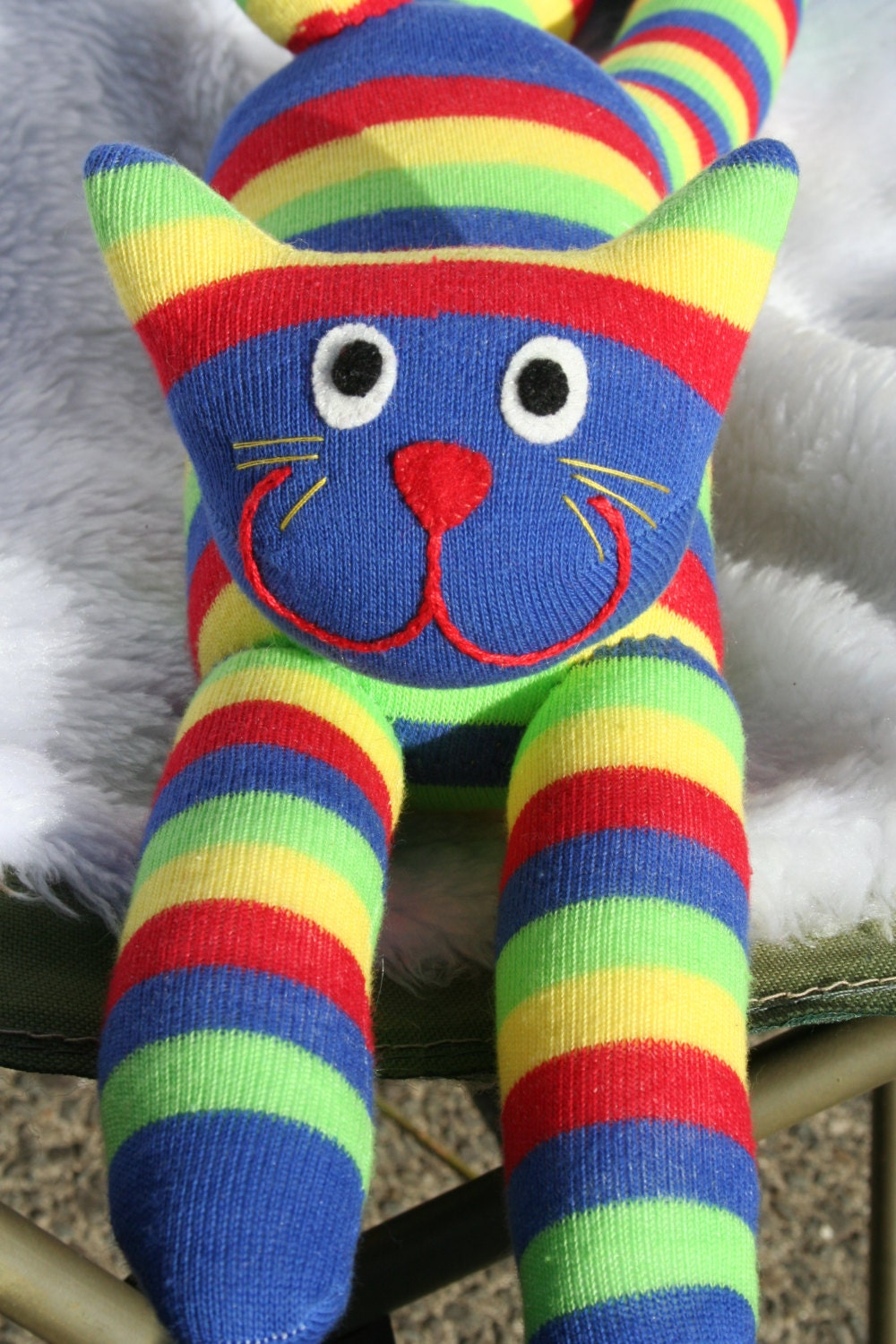 Sassy Cute Multicolored Stripe Sock Cat - PurpleJamTart