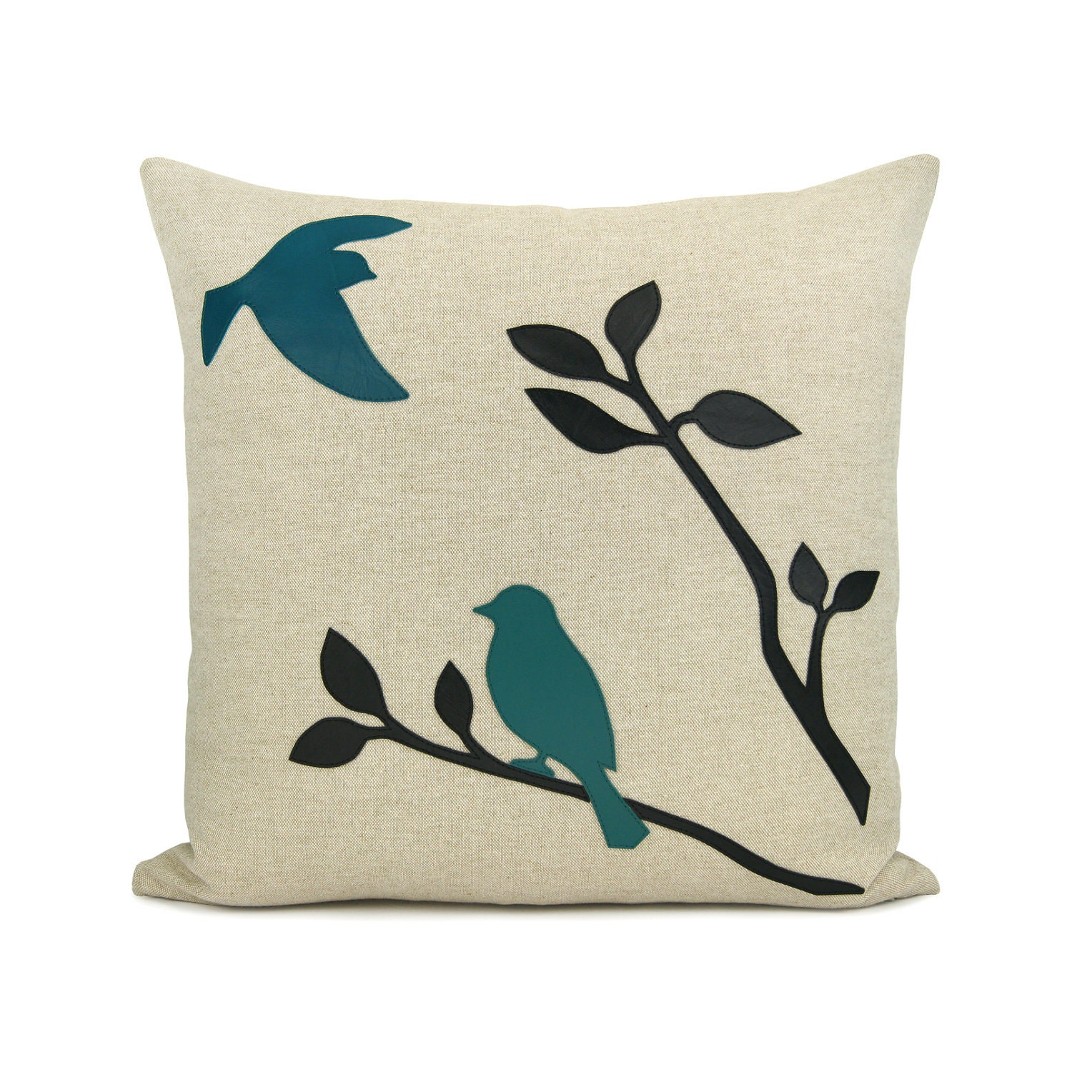 Blue Bird Throw Pillows : 16x16 decorative pillow cover Love birds throw by ClassicByNature