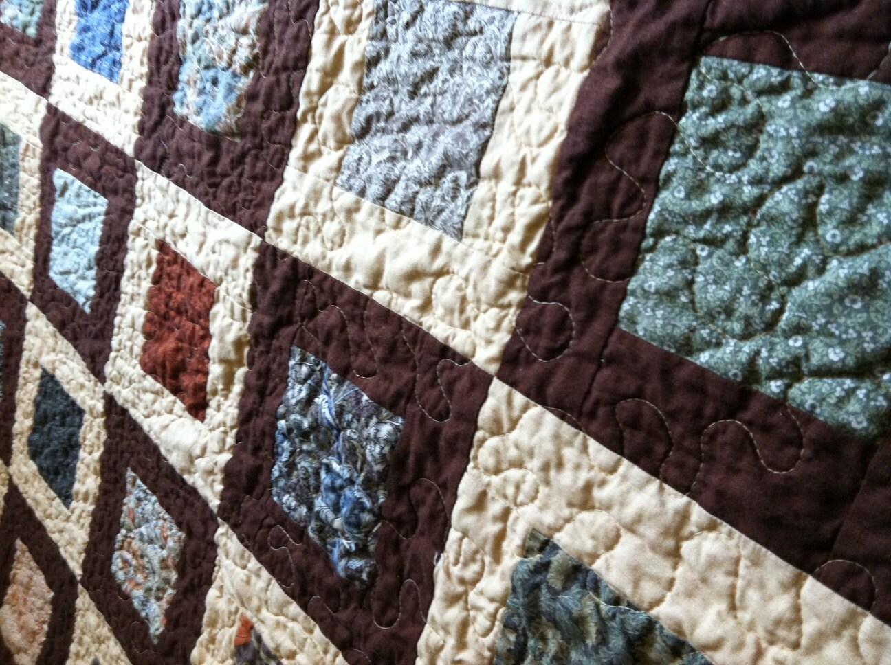Arts & Crafts Earth Tone Lap Quilt, handmade - StumptownQuilts