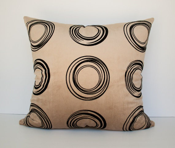 Beige and  black circles decorative accent pillow cover / pillowcase /  cushion cover - 20 x 20 inches