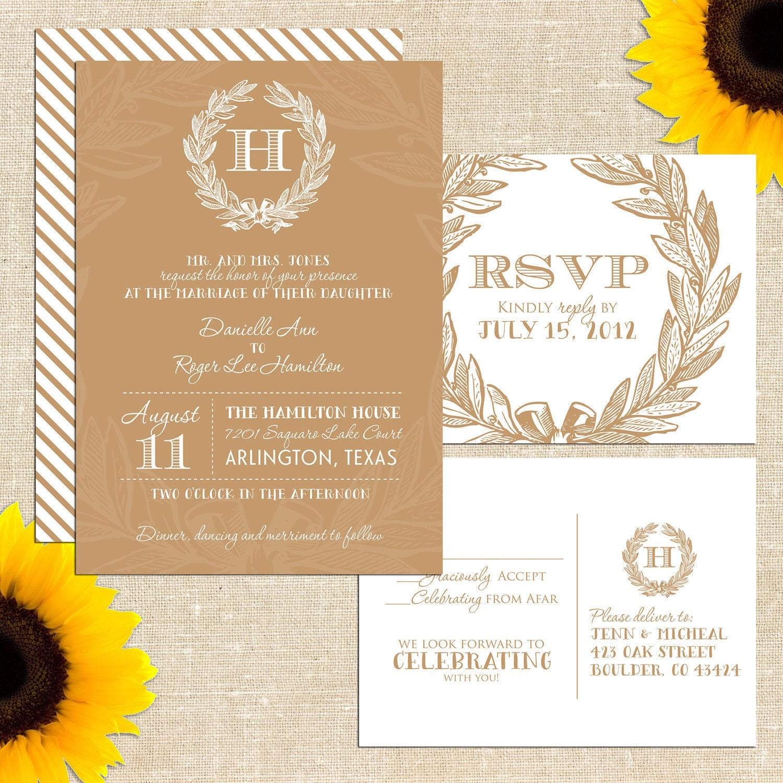 Items Similar To Wreath Monogram Wedding Invitation With Postcard Rsvp Prin