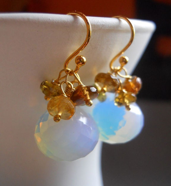 OMG earrings with amber tourmalines - $48.00 USD