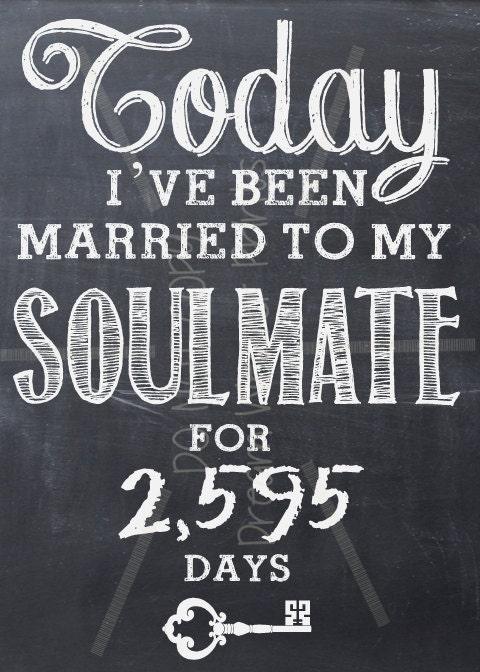 Wedding Gifts For 17 Year Anniversary : Wedding Anniversary SOULMATE printable chalkboard art LOVE Valentine ...