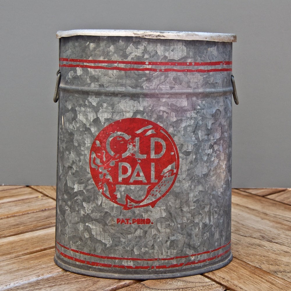 Old Pal Zinc Bait Bucket Vintage Fishing by AnEclecticUniverse