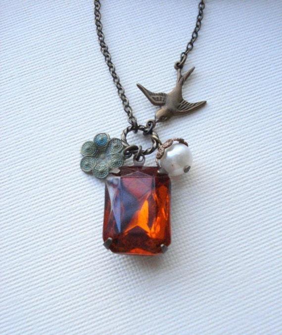bird topaz necklace orange pendant by anechkasjewelry