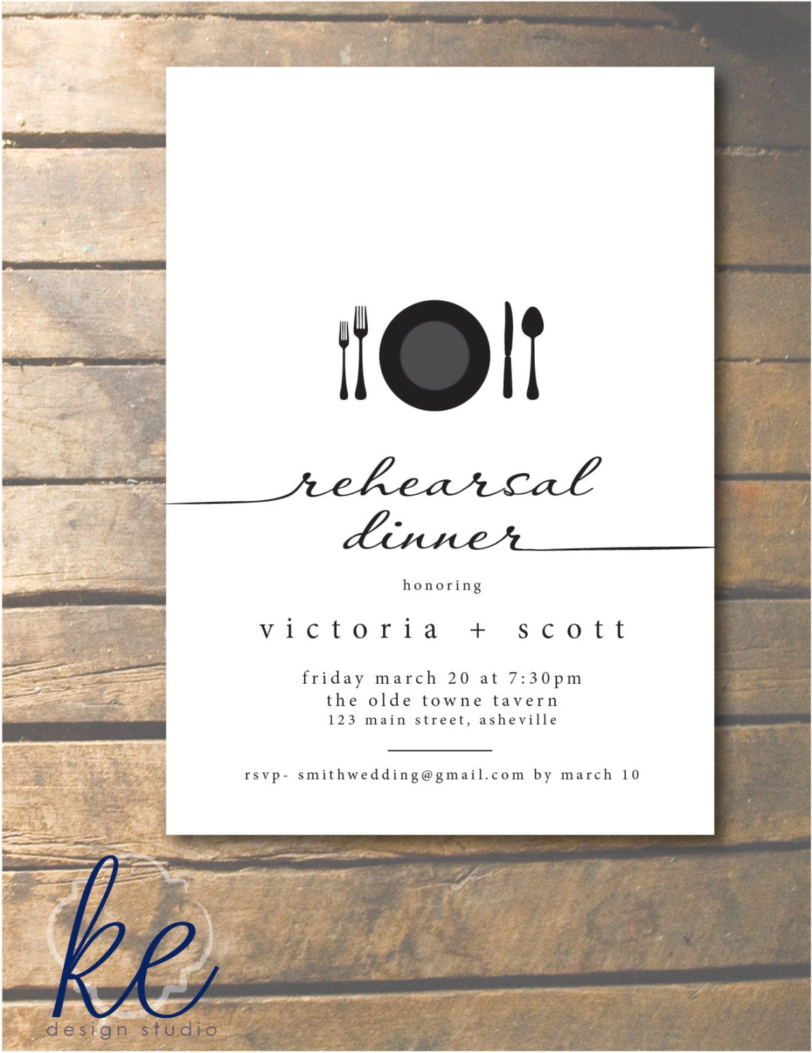 script rehearsal dinner invitation with place by