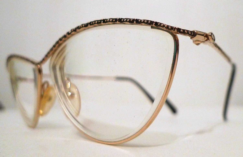 Vintage Christian Dior Cat Eye Eyeglasses Frames, Larger Designer Frame Austria Sunglasses in Golden and Black - BibbysRocket