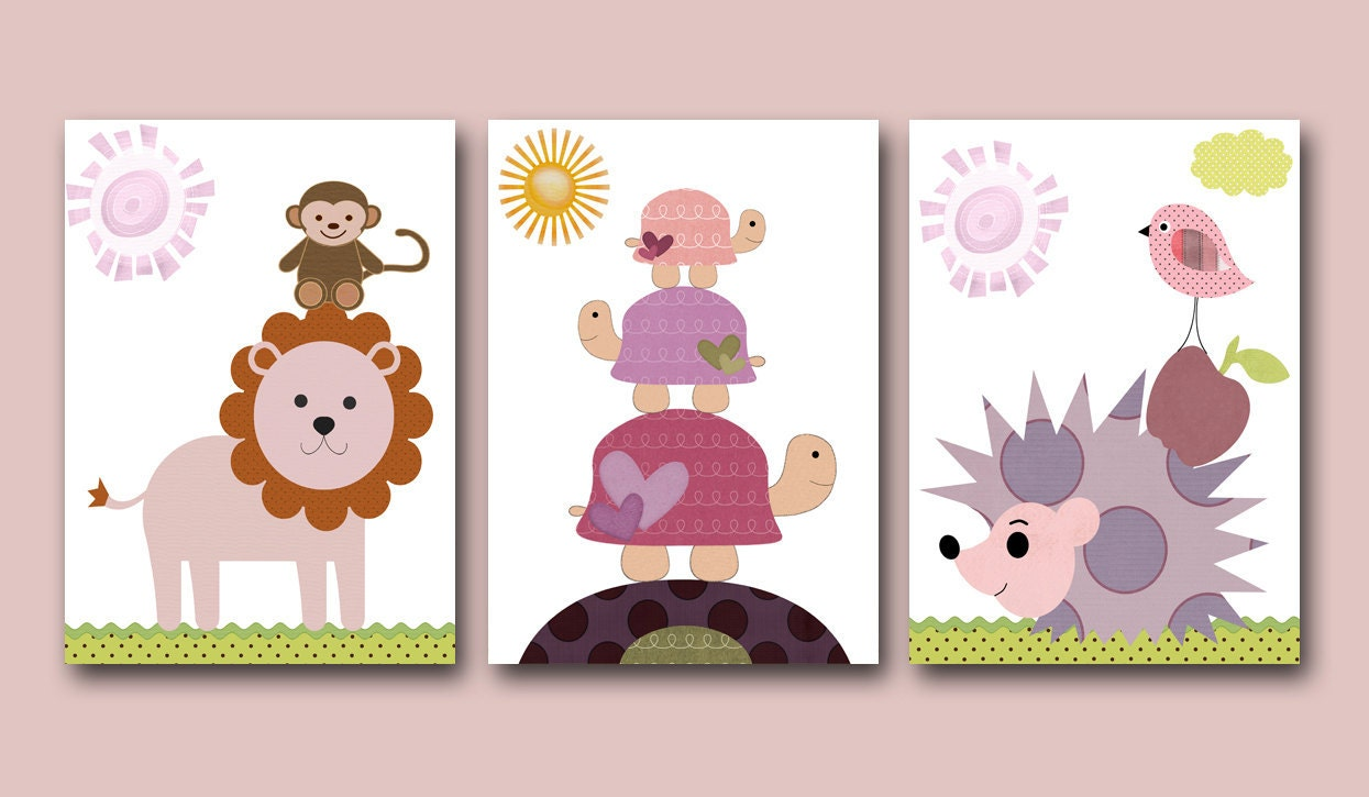 Childrens art Kids Wall Art Baby Girl Room Decor by artbynataera