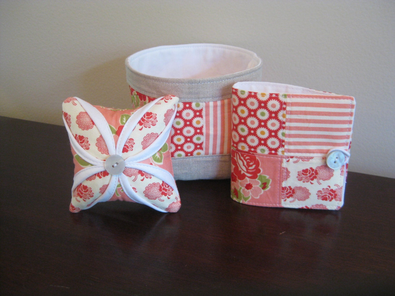 Three Piece Sewing Accesories Set - Marmalade - Pincushion, Needle Book, and Thread Catcher- Made To Order