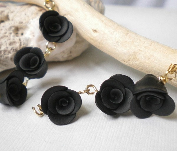 Halloween Black Rose Polymer Clay Earring Trio