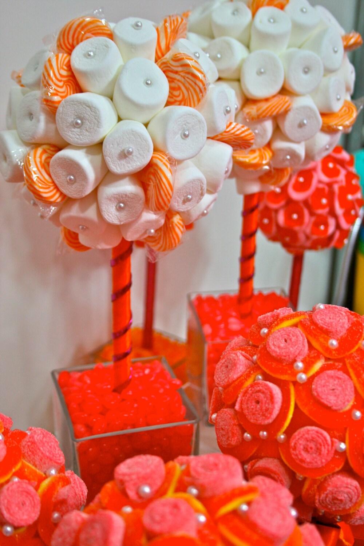 orange amp fuchsia pink marshmallow lollipop by