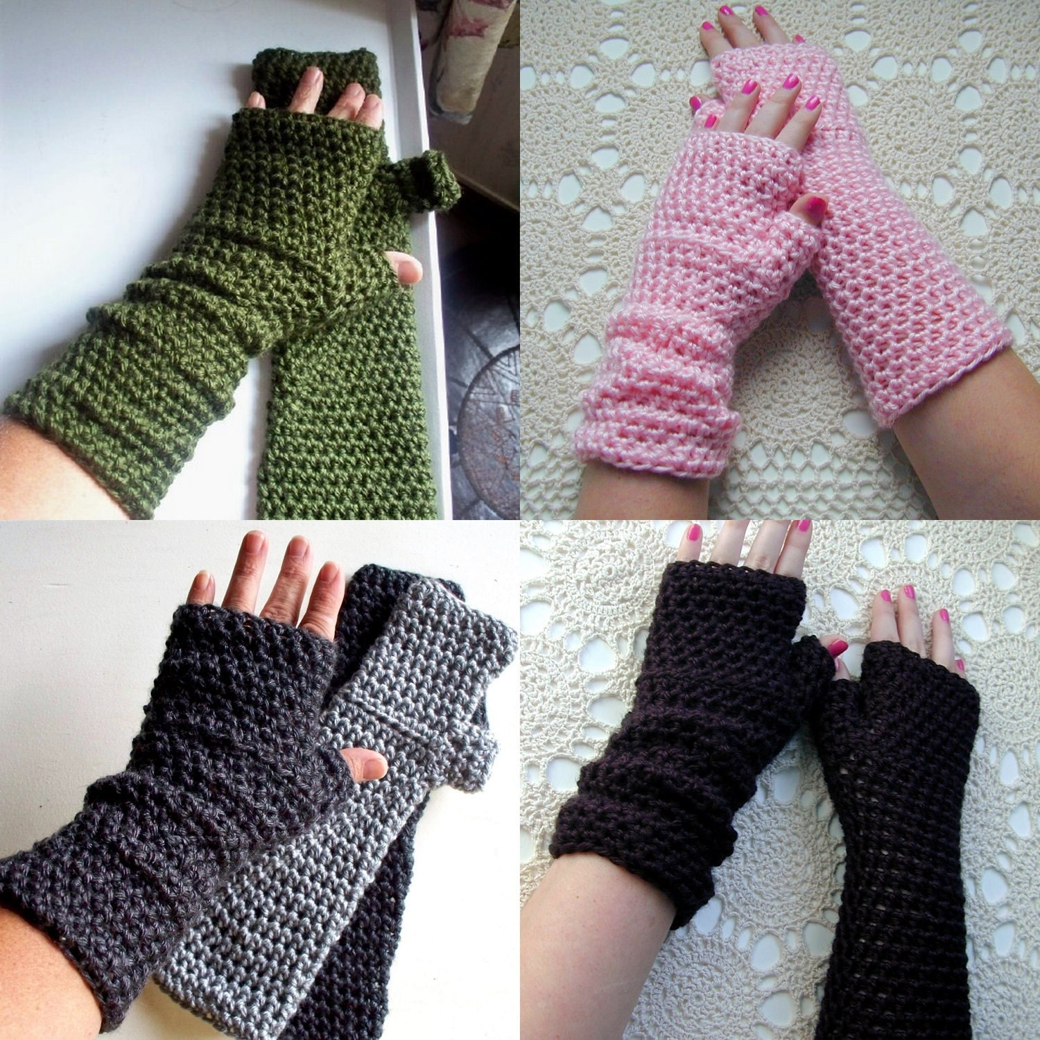 Crochet Pattern Long Fingerless Gloves Mitts or Arm Warmers PDF ...