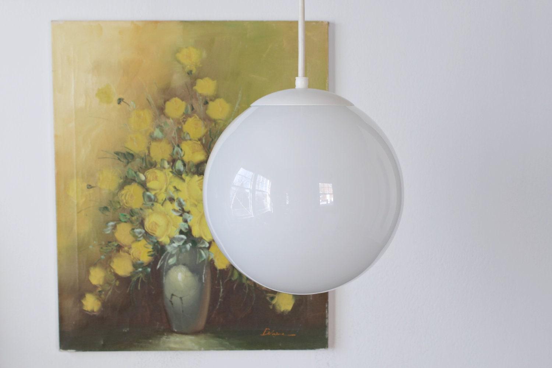 Mid Century Modern Round Globe Chandelier  White By