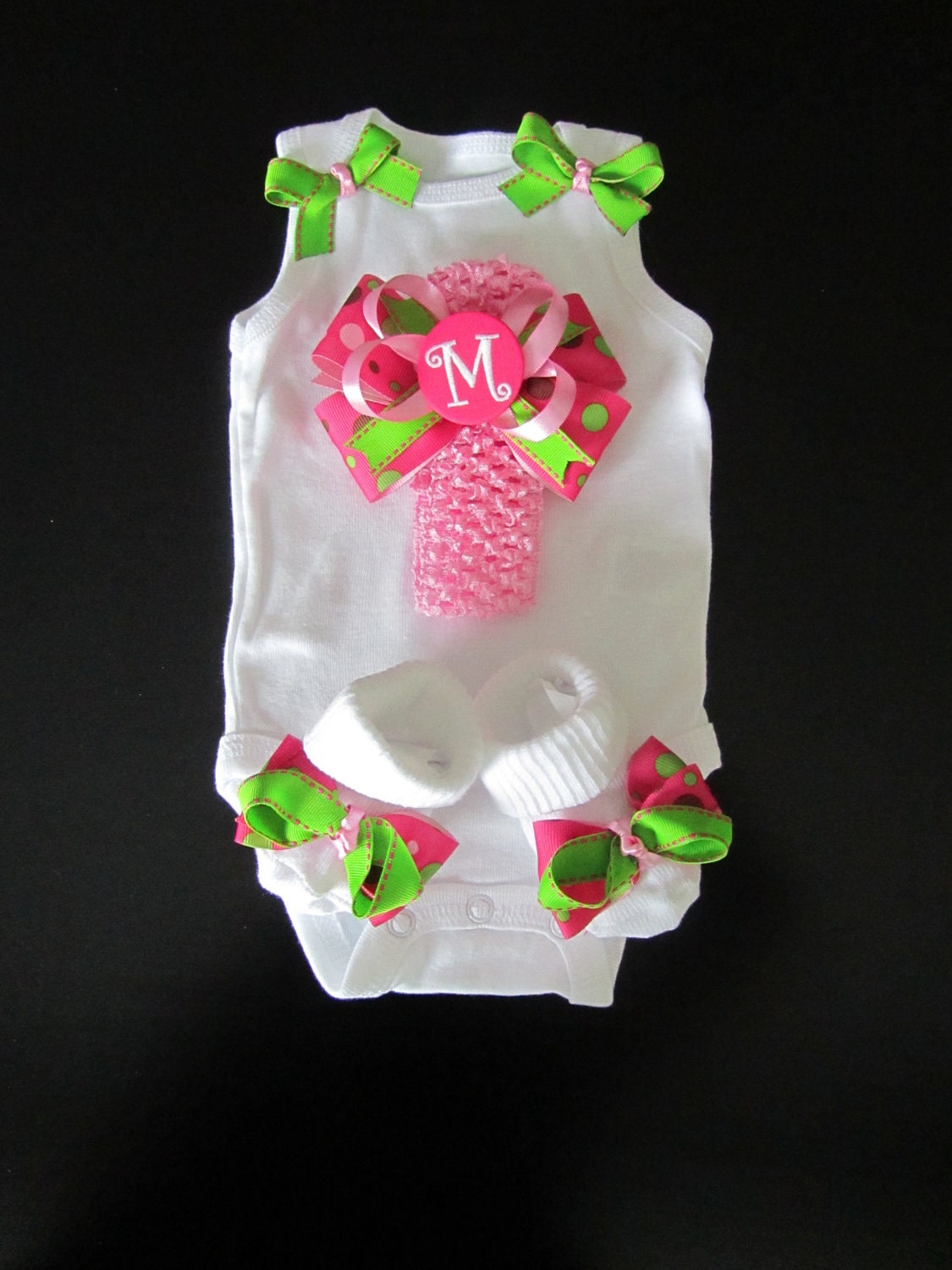 Monogram Baby Girl Clothing Gift Set Newborn Bowtiquemama