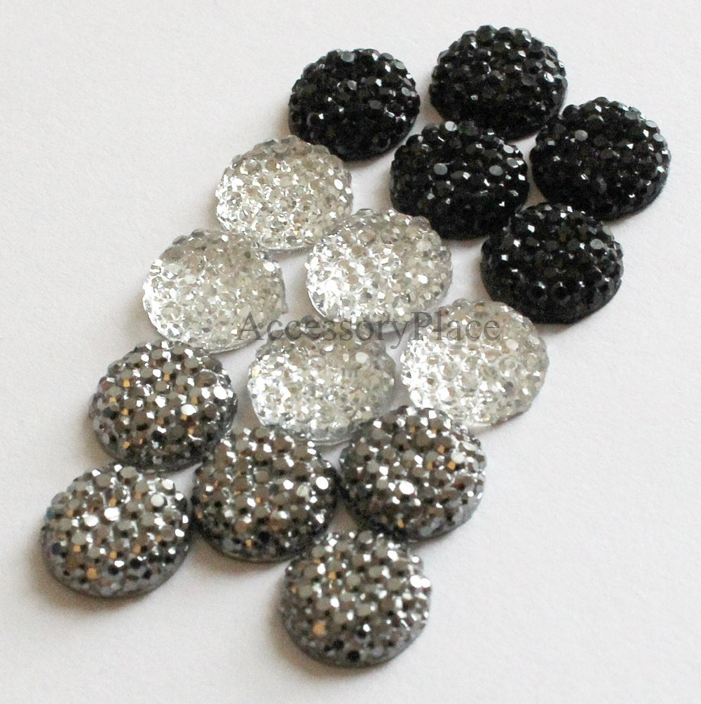 30 pcs of  10mm Faceted Round Cut Flatback Formica Bead  in Clear, Black, Metallic Gray for scrapbooking, clothing, Jewelry, Accessory