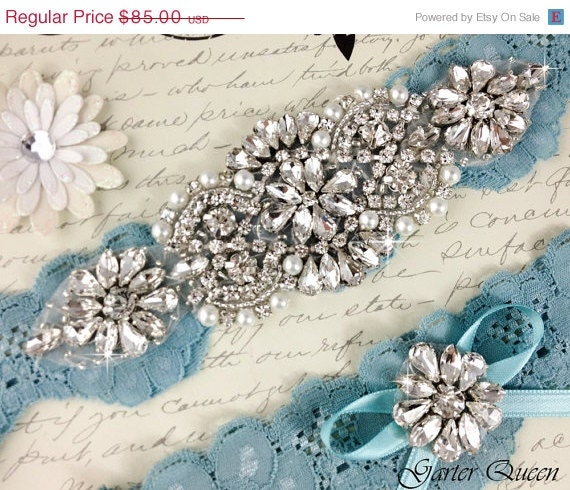 15% OFF Bridal garter set, SOMETHING BLUE Wedding Garter set, Heirloom Rhinestone and Crystal garters - GarterQueen