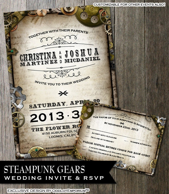 Steampunk Wedding Invitation Amp RSVP Card With By OddLotEmporium