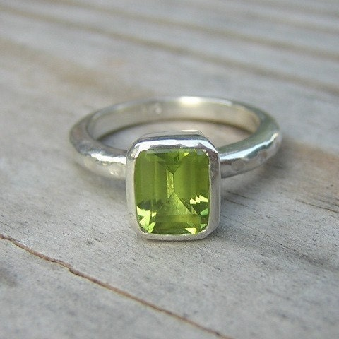 emerald cut peridot solitaire ring by onegarnetgirl on etsy
