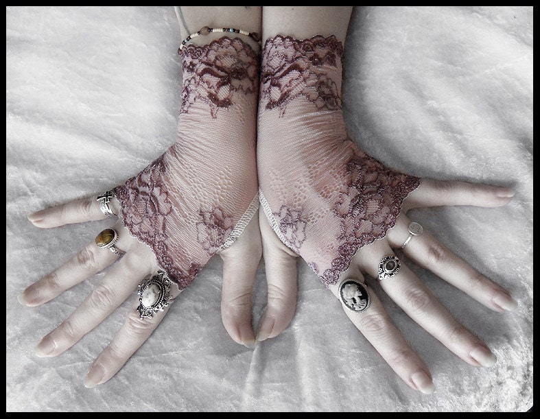 Cosette Lace Fingerless Gloves - Dusty Mauve Plum Embroidered Floral - Gothic Vampire Regency Tribal Bellydance Goth Fetish Mourning Tea - ZenAndCoffee