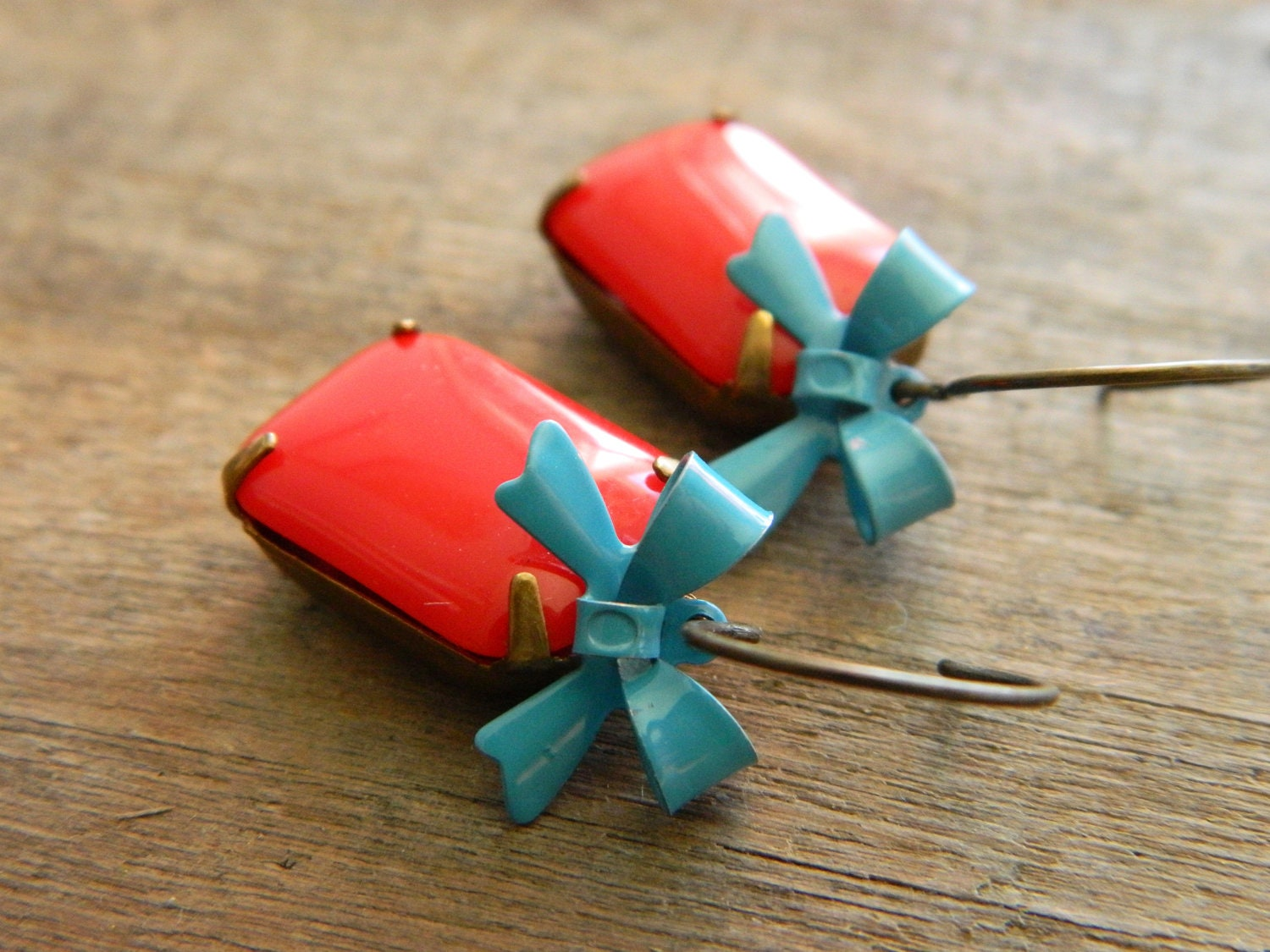 Vintage Chic Earrings Retro Red Opaque Glass and Blue Bows - Bow so Pretty