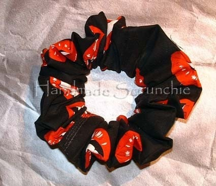 lips hair scrunchie large 80 s style by handmadecrafter