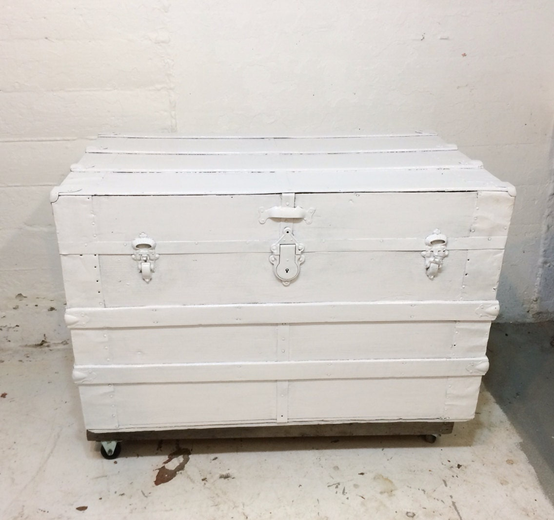 Gloss White Steamer Trunk Coffee Table Or Foot By Thedirtyloft
