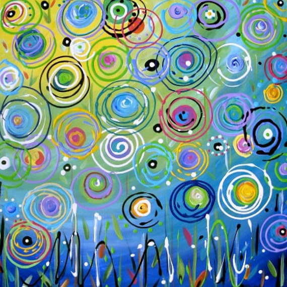 Abstract Circle Flowers Painting Aqua